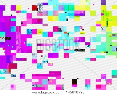 Colorful glitched shapes. Decorative layer for effect of corrupted image. Random digital signal error. Abstract contemporary background made of acid pixel mosaic. Element of trendy design.