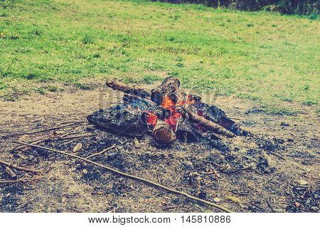Rustic bonfire burning in nature, vintage photo.