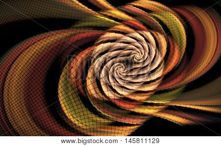Abstract psychedelic multicolored waves on black background. Computer-generated fractal in orange yellow red green and rose colors.