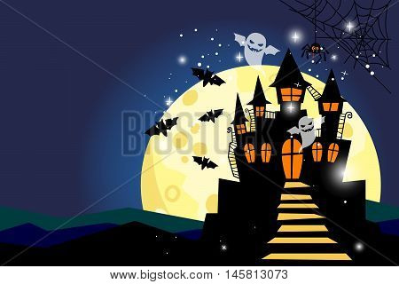 Halloween scary night background with moon in sky, castle and ghosts. Happy halloween backdrop vector illustration