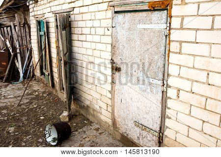 Slums abandoned village yard shed stables - retro