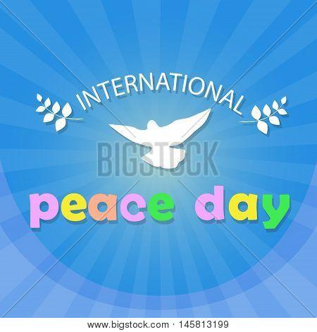 World Peace Day Poster White Dove Bird Symbol Flat Vector Illustration