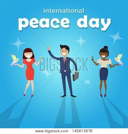Diverse People Group International Peace Holiday Poster Flat Vector Illustration