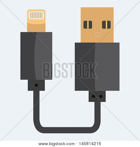 USB cable icon. Realistic Flat and solid color style design.