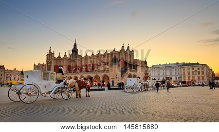KRAKOW, POLAND - APRIL 03, 2015: Square in the old town of Krakow, Poland on April 03, 2015.