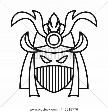 Japanese samurai mask icon in outline style isolated on white background vector illustration