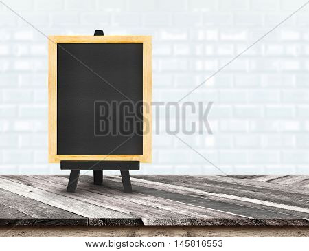 Menu Blackboard On Diagonal Wooden Table Top At Blurred White Tiles Ceramic Wall,template Mock Up Fo