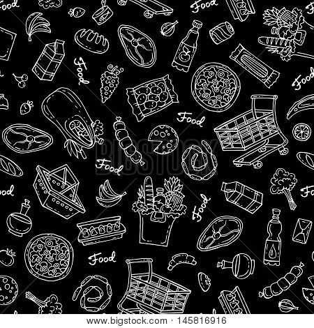 Vector seamless hand drawn pattern on black color. Pattern on the theme of food - dairy products beverages vegetables fruits meat products sausages bread pizza. Background for use in design