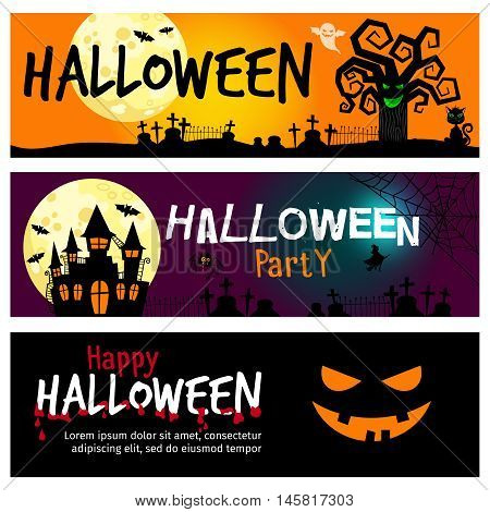 Happy halloween banners. Halloween invitations with dramatic landscape with moon in sky and blood vector illustration