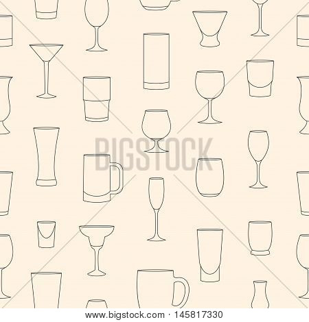 Seamless pattern made of linear drinkware on beige background