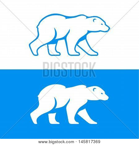 Walking polar bear logo or icon. Vector illustration in one color. Inversion version included.