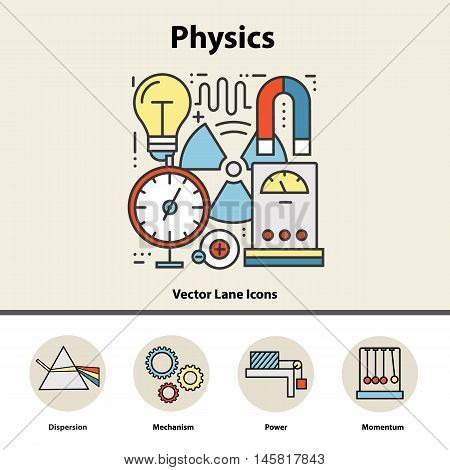 Modern color concept of physics for school, university and training. Vector line icons for trendy designs.