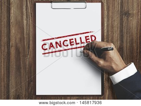 Delayed Banned Cancelled Denied Stamp Label Mark Concept