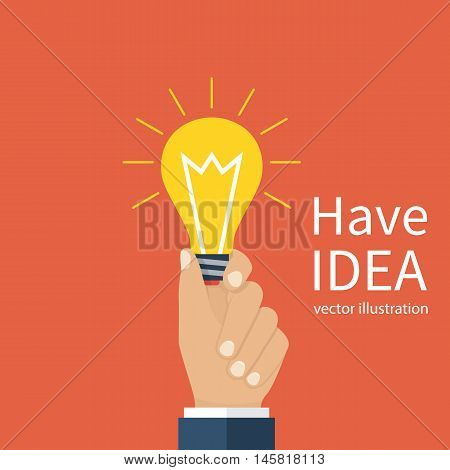 Businessman holding a lamp as a symbol of ideas. Have an idea concept. Creative problem solving. Result creative approach. Vector illustration flat style design. Electric lamp in hand. Invention.