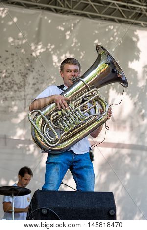 Moscow, Russia - July 31, 2016: Cover Band Brevis Brass Band Performance On A City Street. It Is Uni
