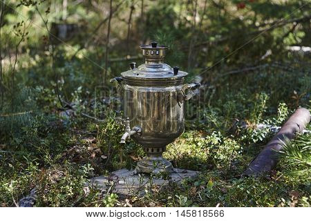 samovar and iron pipe in deep forest