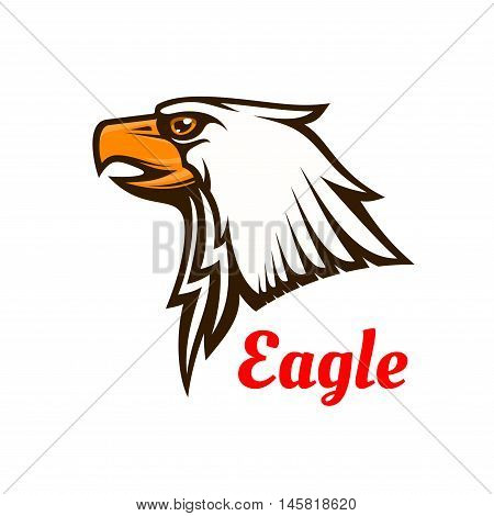 Bald Eagle icon. Hawk graphic emblem for team mascot shield, icon, badge, label and tattoo. Falcon symbol for scout, sport, guard, club