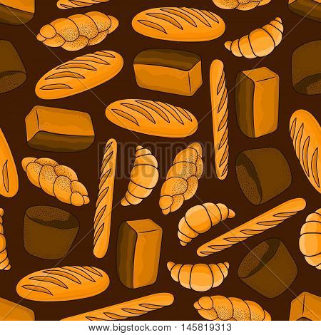 Bread seamless background. Wallpaper with bakery pattern vector icons of croissant, baguette, bun, loaf, bagel. Decoration for patisserie, cafe, bakery, pastry shop
