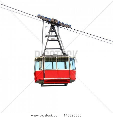 Red cable car isolated on white background. Retro technology and transportation theme. Object with clipping path.