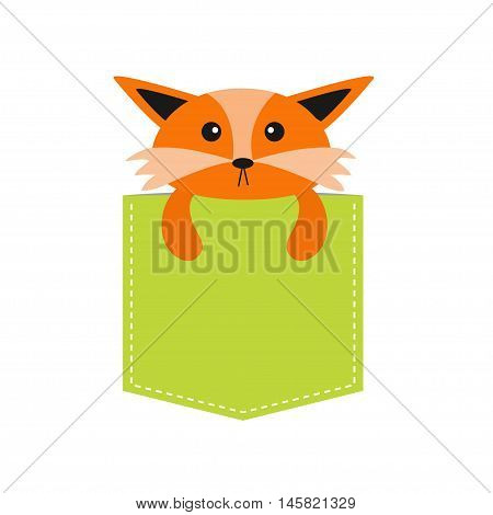 Fox in the pocket. Cute cartoon character. Dash line. Forest animal collection. T-shirt design. White background. Isolated. Flat Vector illustration