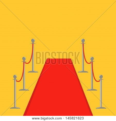 Red carpet and rope barrier golden stanchions turnstile Isolated template Yellow background. Flat design Vector illustration
