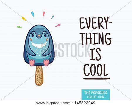 Everything is cool. Penguin popsicle yummy fresh summer desert in cartoon style.