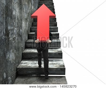 Businessman Carrying Red Arrow Sign Climbing On Stairs