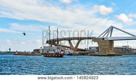 Europa Bridge at the entrance to the port of Barcelona. Spain