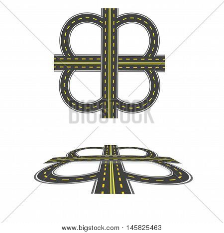 Set the transport interchange. Highway with yellow markings. Top view and in perspective. Vector illustration