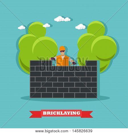 People build brick wall. Construction site concept vector banner. Building under construction.