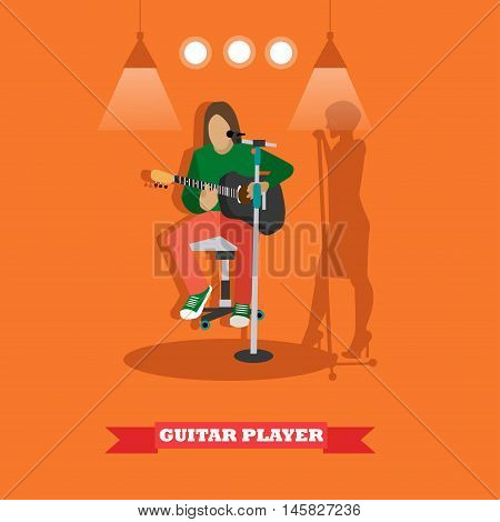 Country song guitarist playing guitar. Music rock band concept banner. Vector illustration in flat style design.