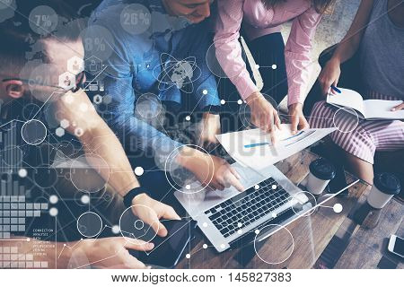 Global Strategy Connection Data Virtual Icon Innovation Graph Interface.Startup Diversity Teamwork Brainstorming Meeting Concept.Business People Coworkers Sharing Worldwide Economy Laptop Touchscreen