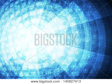 Abstract universal vector blue cyberspace background illustration