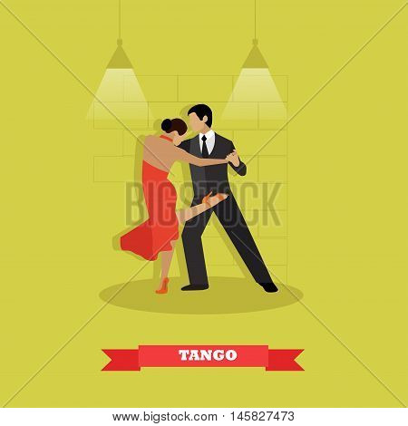 Couple dance tango concept vector poster. Man and woman dancing on a stage.