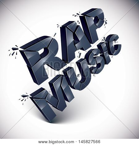 Black 3d rap music word broken into pieces demolished vector design element. Shattered art stylish inscription.