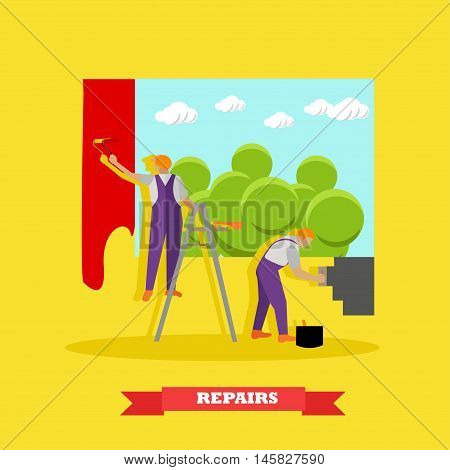 Home interior and room repair vector banner. Workers make renovation in apartment. People paint a wall in house.