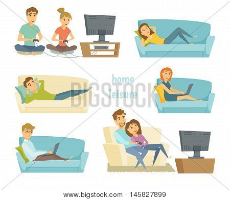 Home leisure. Couple watching tv. Man work at home and women shopping online on sofa with laptop. Friends playing video games. People lying on sofa and relax. Home leisure young people. Leisure time