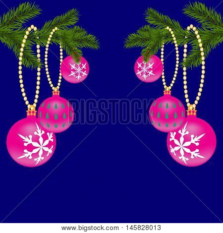 Two green, realistic fir branches. Christmas Spruce branches. Isolated on a blue background with pink ornaments. Christmas vector illustration