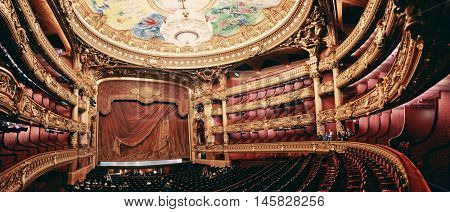PARIS, FRANCE - MAY 13: Palais Garnier interior view on May 13, 2015 in Paris. With the population of 2M, Paris is the capital and most-populous city of France