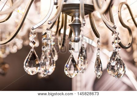 Elements of crystal strass classic white lamp