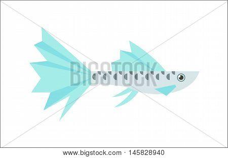 Aquarium fish. Guppy flat illustration. The inhabitants of marine reef aquariums and ponds