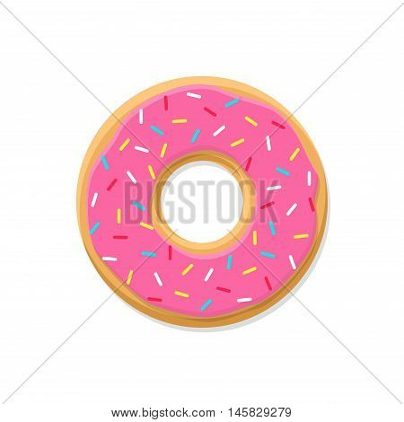 Sweet pink donut isolated on white background. Yummy cookie donut food. Candy decoration color donut with topping. Glazed pastry delicious snack, eat candy.