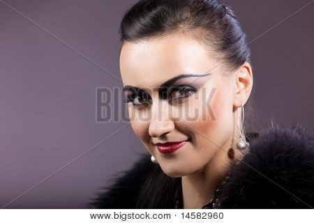 woman portrait in retro style make-up