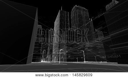 Digital Skyscrappers With Wireframe Texture. Technology And Connection Concept. Perspective 3D Archi