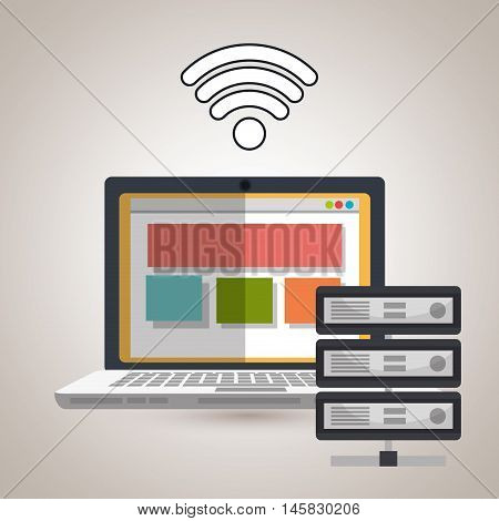 laptop wifi data base vecotr illustration eps10