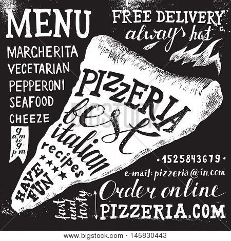 Pizzeria hand drawn black and white lettering