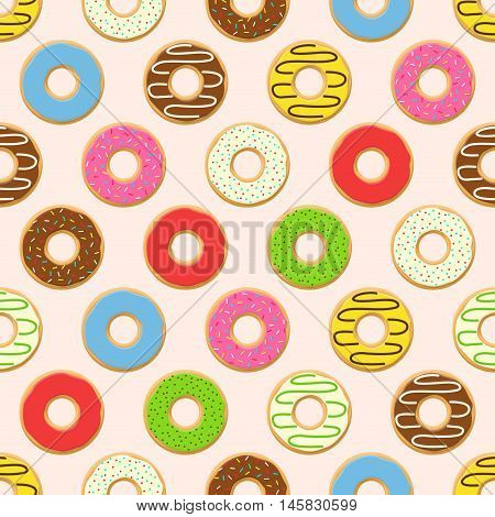 Vector seamless pattern with colorful donuts with glaze and sprinkles on pink background. Candy decoration color donuts collection. Glazed pastry delicious snack, eat candy.