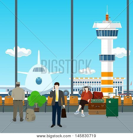 Airport , a Waiting Room with People, View on Airplane and Control Tower through the Window from a Waiting Room , Scoreboard Arrivals at Airport, Travel Concept, Flat Design, Vector Illustration