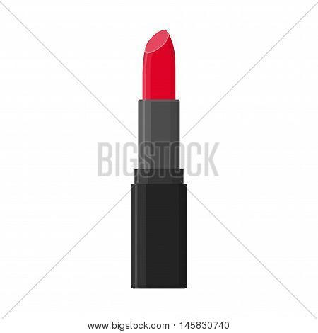 Makeup beauty vector lipstick tube isolated on white background. Accessory lipstick glossy fashion and cosmetic care in flat style.