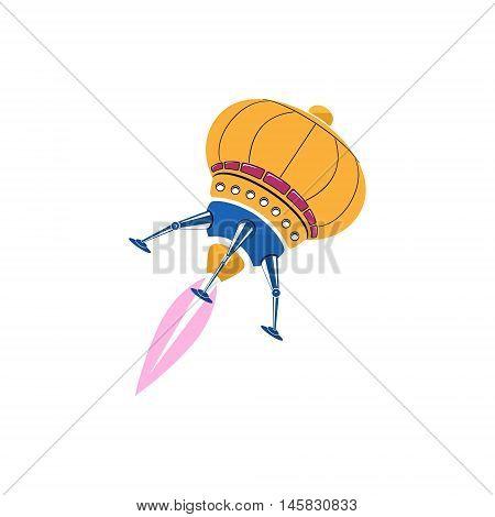 Rocket, Ufo Isolated on White Background, Vector Illustration